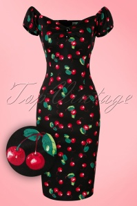 Collectif Clothing Dolores Cherry Pencil Dress Black 100 14 16094 20160217 0005WV