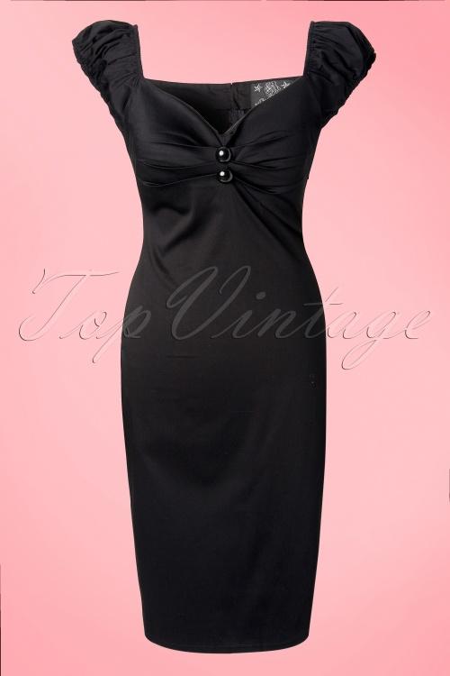 Collectif Clothing Dolores Black Pencil Dress 10248 1W