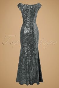 Vintage Chic Velvet Sequins Silver Maxi Dress 108 92 19699 20161116 0007w