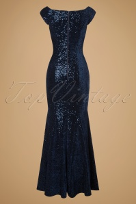 Vintage Chic Velvet Sequins Navy Maxi Dress 108 31 19700 20161116 0011w