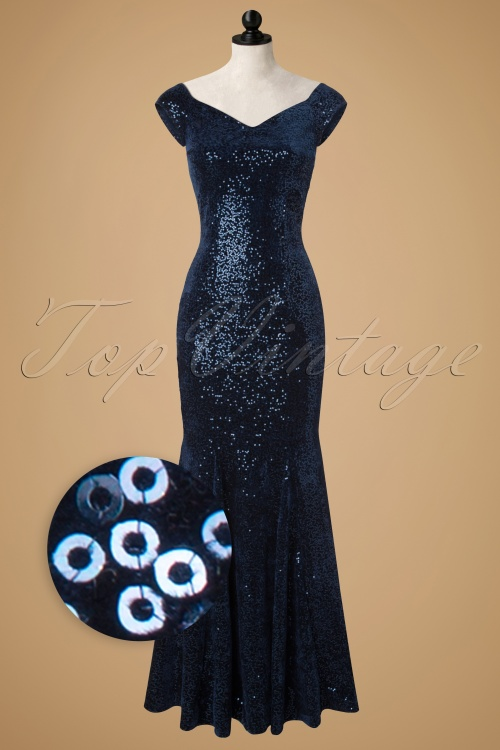 Vintage Chic Velvet Sequins Navy Maxi Dress 108 31 19700 20161116 0006popW1