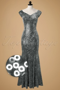 50s Veronica Velvet Sequin Maxi Dress in Silver