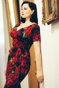 TopVintage Exclusive ~ 60s Rita Flowers Dress in Black and Red