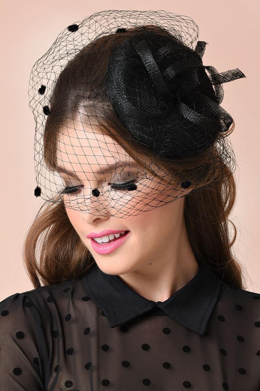 40s Marcia Polkadot Fascinator Hat In Black