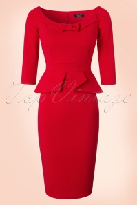 Vintage Chic Peplum Style Scuba Red Pencil Dress 100 20 19629 20161117 0005W