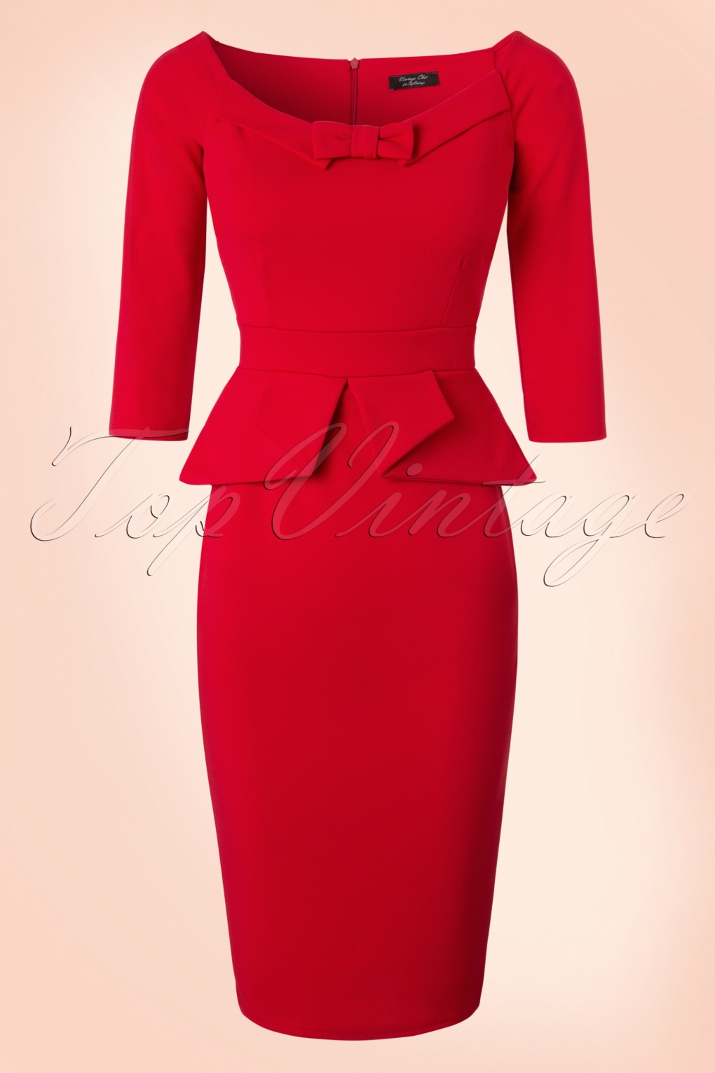1940s Pinup Dresses for Sale 50s Paloma Peplum Pencil Dress in Lipstick Red £50.00 AT vintagedancer.com