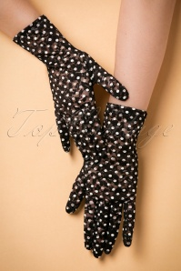 Lady Mary Pin Dots Lace Gloves Années 50 en Noir