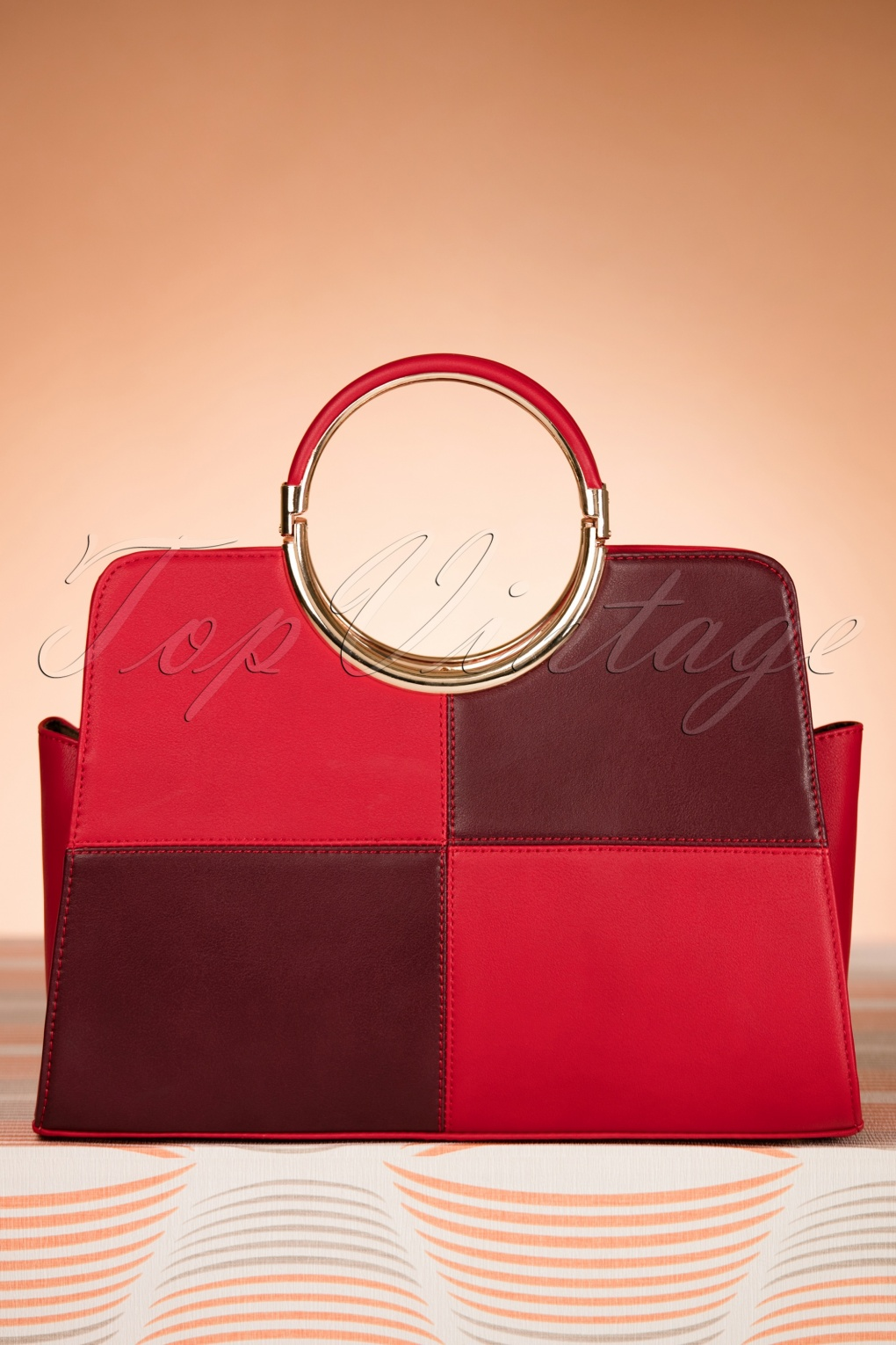Retro Handbags, Purses, Wallets, Bags 60s Pia Top Handle Handbag in Red and Aubergine £39.39 AT vintagedancer.com