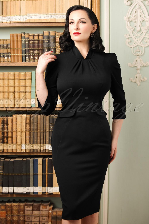 40s Iines Lou Pencil Dress in Black