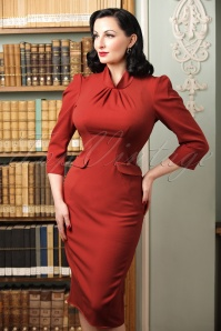 40s Iines Lou Pencil Dress in Rust
