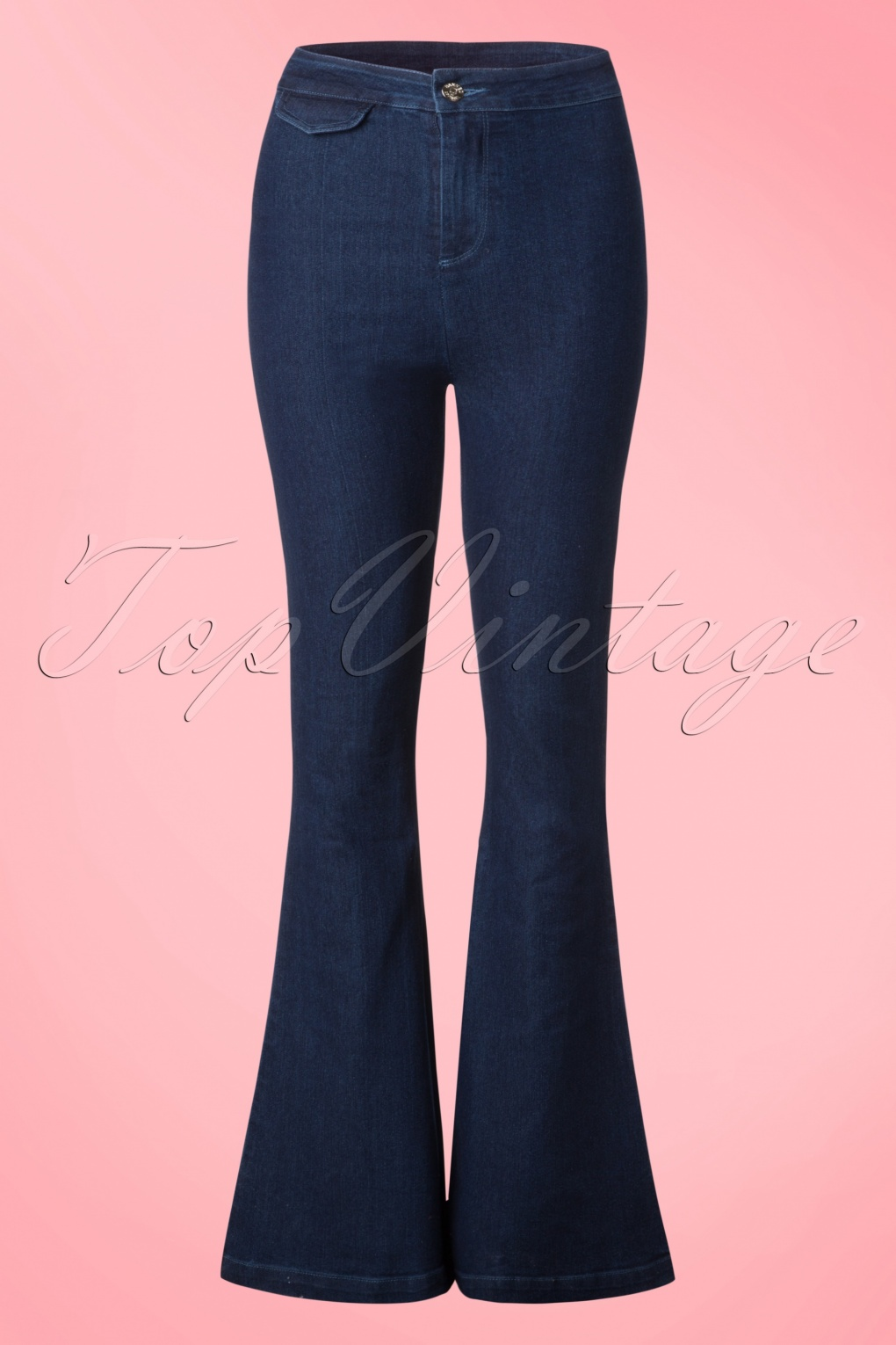 1960s Style Women's Pants 70s Legs Eleven Flared Trousers in Denim £39.05 AT vintagedancer.com