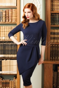 50s Vicky Pencil Dress in Navy