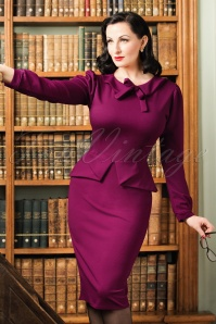 TopVintage Exclusive ~ 40s Charlene Pencil Dress in Amaranth Purple