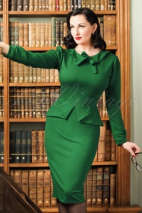TopVintage Exclusive ~ 40s Charlene Pencil Dress in Emerald Green