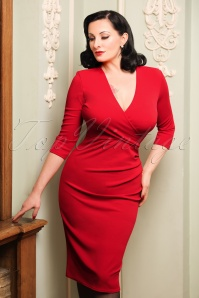 50s Madison Pencil Dress in Red
