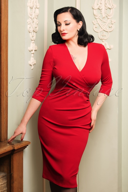Rode Pencil Jurk.50s Madison Pencil Dress In Red
