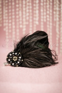 20s Sparkling Feather Fascinator in Black