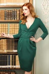 50s Ann Pleated Pencil Dress in Emerald