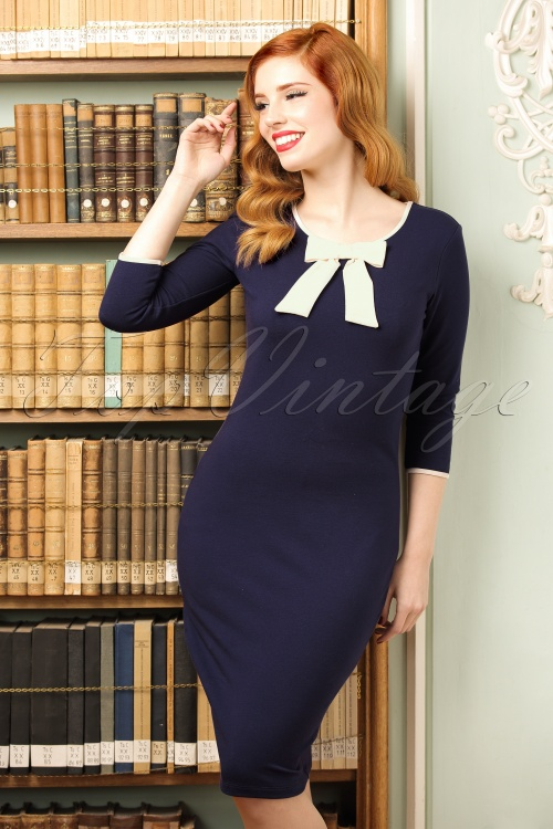 Fever Michelle Bow Blue Pencil Dress 100 39 19205 20160920 1W