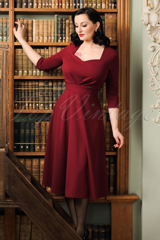 50s ruby swing dress in burgundy