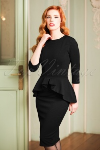 50s Leslie Peplum Dress in Black