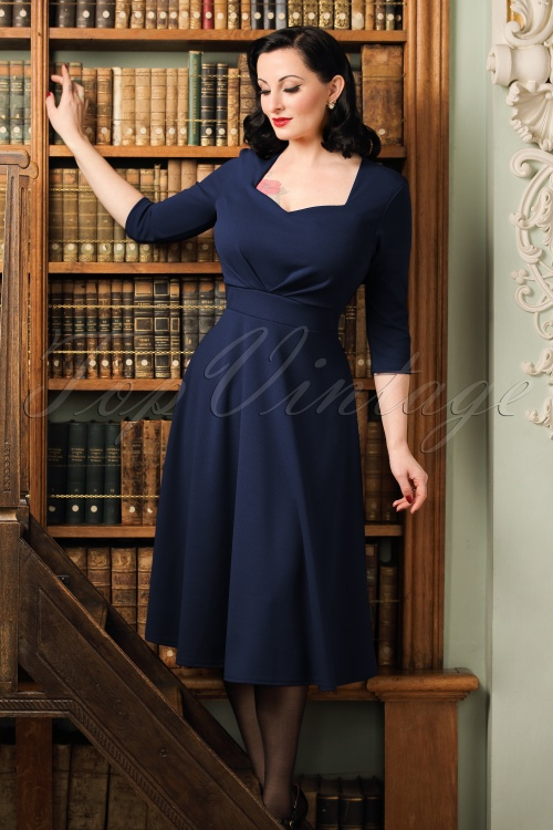 Vintage Chic Scuba Crepe Sweetheart Neckline Navy Dress 102 20 19596 20161026 1W