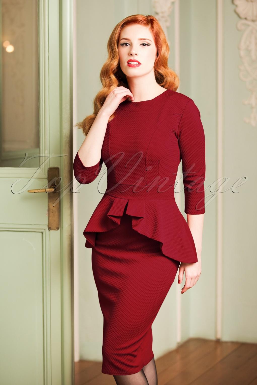 50s Leslie Peplum Dress in Wine Red