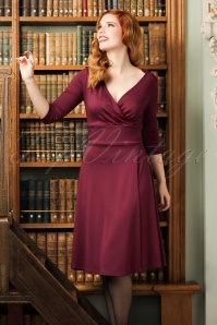 50s Andrea Wrap Dress in Maroon