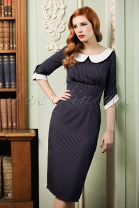 40s Poise Pinstripe Pencil Dress in Navy
