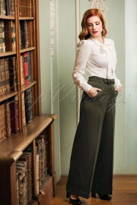 Banned Retro 40s Mindy Hide Away Trousers in Olive Green