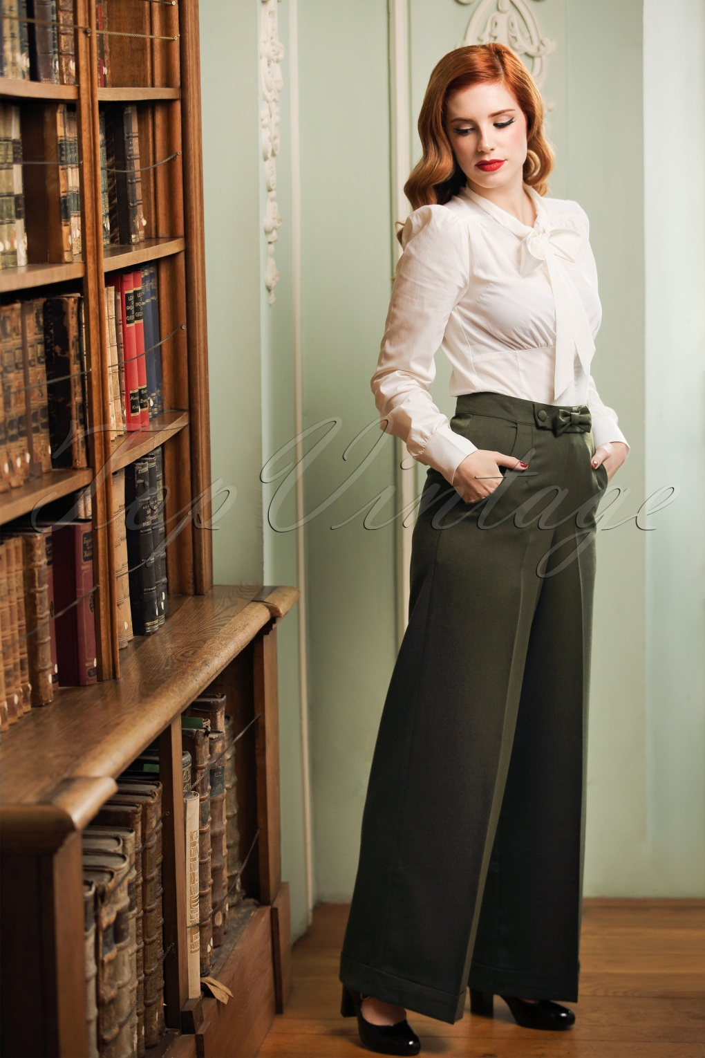 Vintage High Waisted Trousers, Sailor Pants, Jeans 40s Mindy Hide Away Trousers in Olive Green £32.55 AT vintagedancer.com