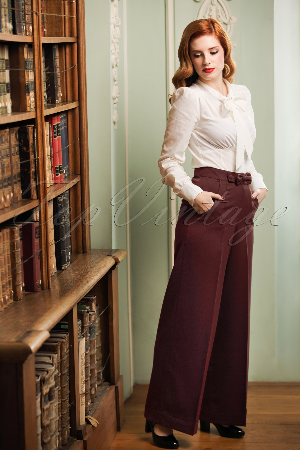 Vintage High Waisted Trousers, Sailor Pants, Jeans 40s Hidden Away Trousers in Burgundy £33.46 AT vintagedancer.com