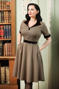 40s Swept Off Her Feet Swing Dress in Houndstooth Brown
