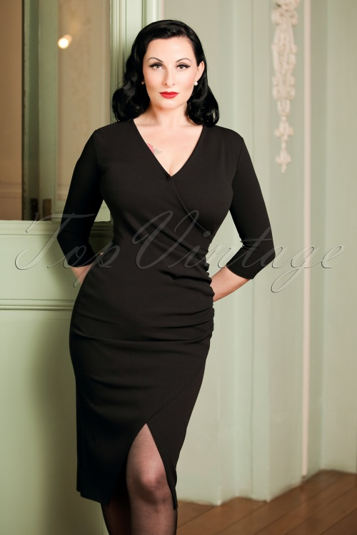 Vintage Chic Scuba Crepe Wrap Over Black Dress 100 10 19623 20161031 02W