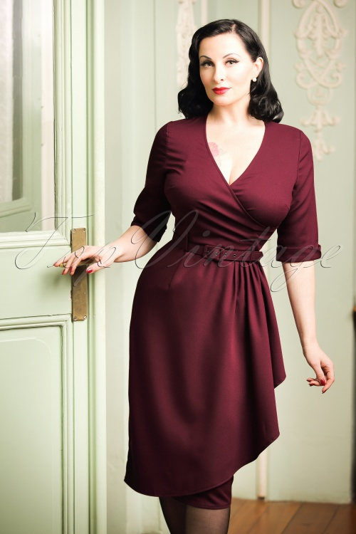 Collectif Clothing Edwina Faux Wrap Dress in Wine Red 100 20 18934 20161107 1W