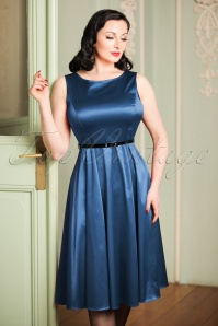 50s Hepburn Ruby Satin Swing Dress in Blue