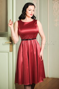 50s Hepburn Ruby Satin Swing Dress in Red