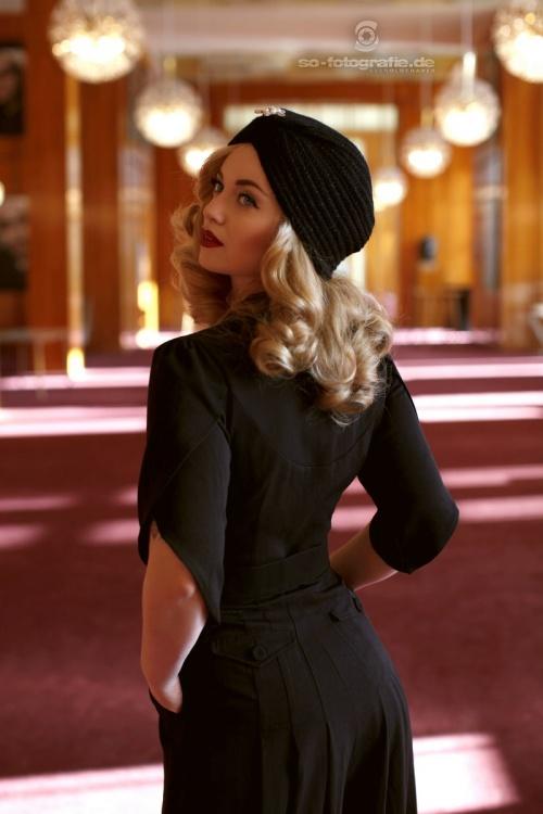 30s Gloria Wool Turban Hat In Black