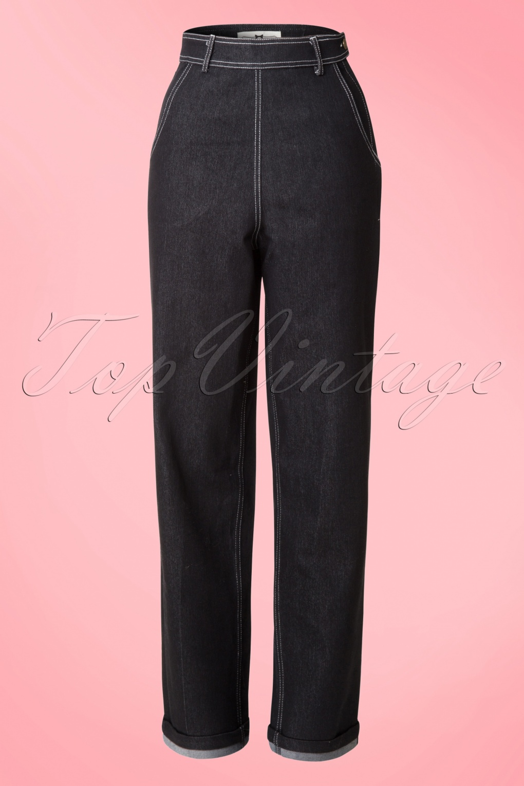 1950s Pants History for Women 50s Siobhan High Waist Jeans in Black £47.73 AT vintagedancer.com