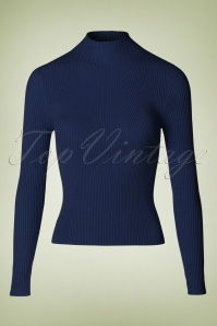 50s Lets Tango Polo Neck in Night Blue