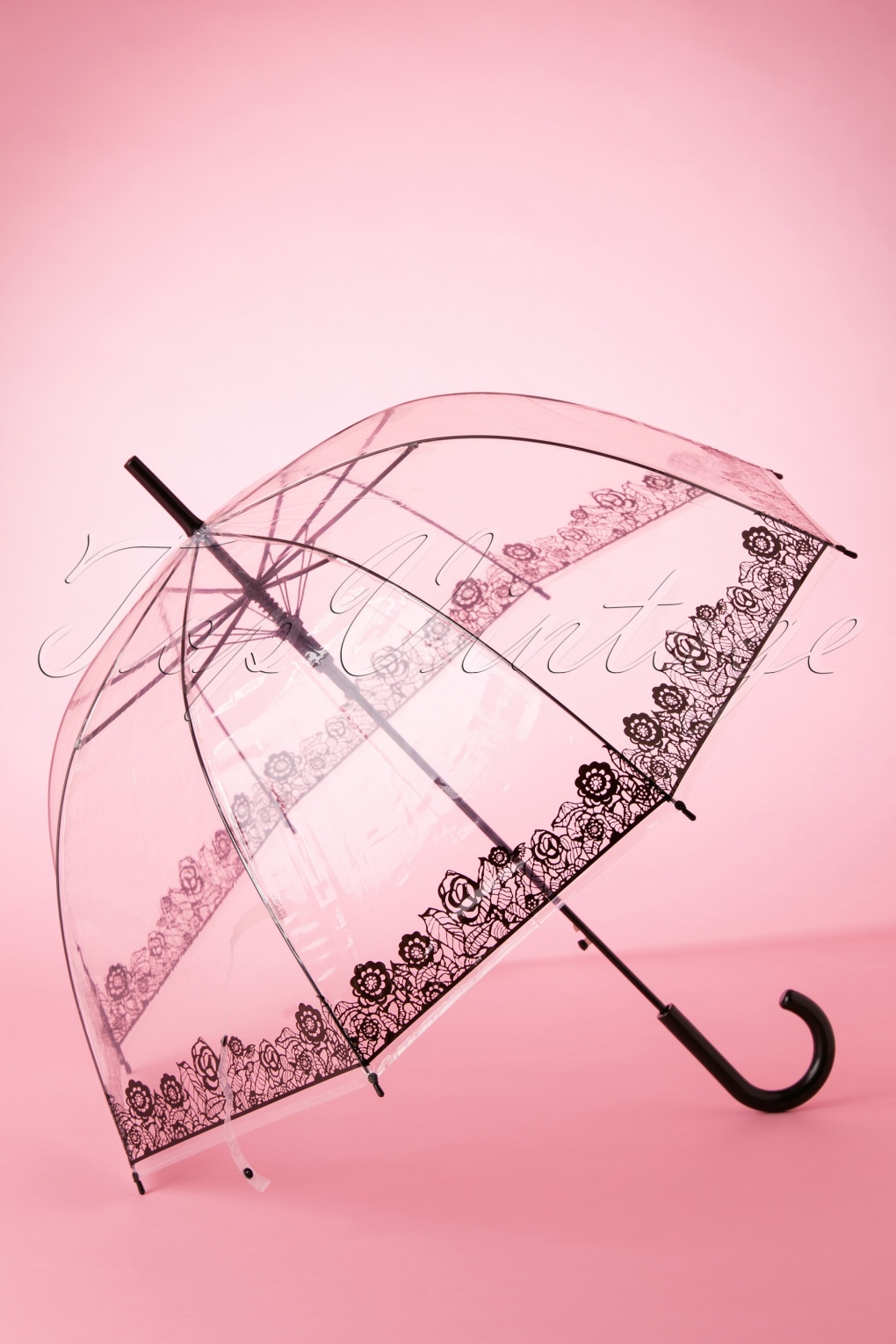 Vintage Style Parasols and Umbrellas 60s Dentelle Flower Transparent Dome Umbrella in Black £15.59 AT vintagedancer.com