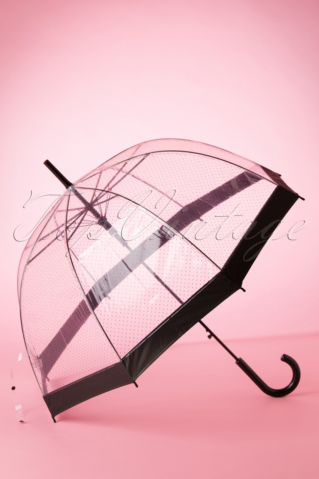 Vintage Style Parasols and Umbrellas 60s Lady Dot Transparent Dome Umbrella in Black £15.59 AT vintagedancer.com