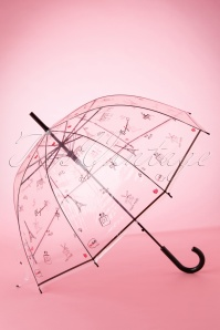 60s Bonjour Paris Transparent Dome Umbrella in Black