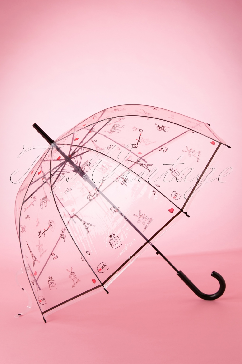 Vintage Style Parasols and Umbrellas 60s Bonjour Paris Transparent Dome Umbrella in Black £15.59 AT vintagedancer.com