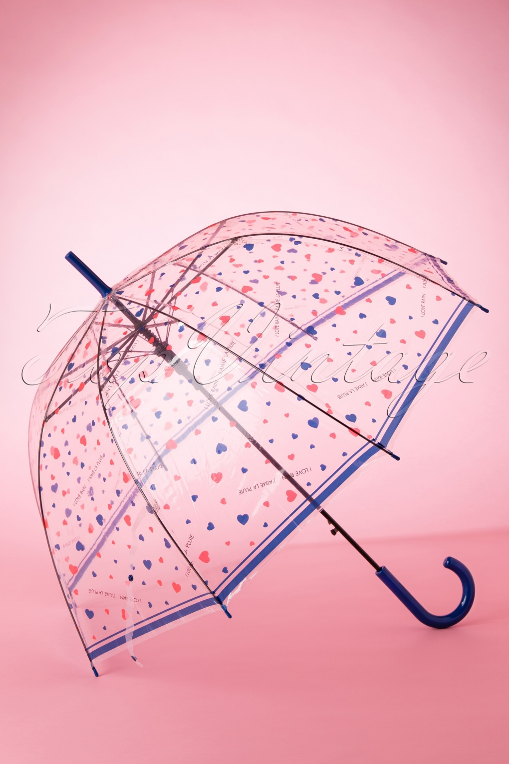 Vintage Style Parasols and Umbrellas 60s I Love Rain Transparent Dome Umbrella in Blue £15.59 AT vintagedancer.com