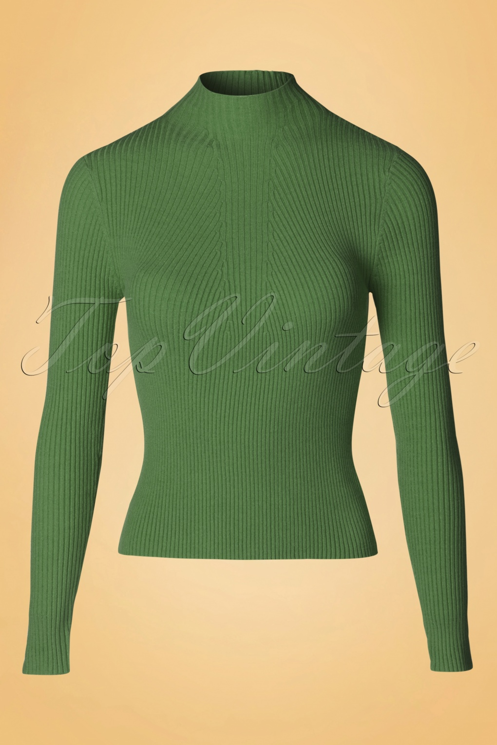 Retro Vintage Sweaters 50s Lets Tango Polo Neck in Olive £29.08 AT vintagedancer.com