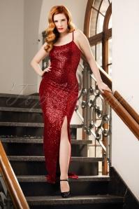 50s Dianne Sequins Maxi Dress in Red Velvet