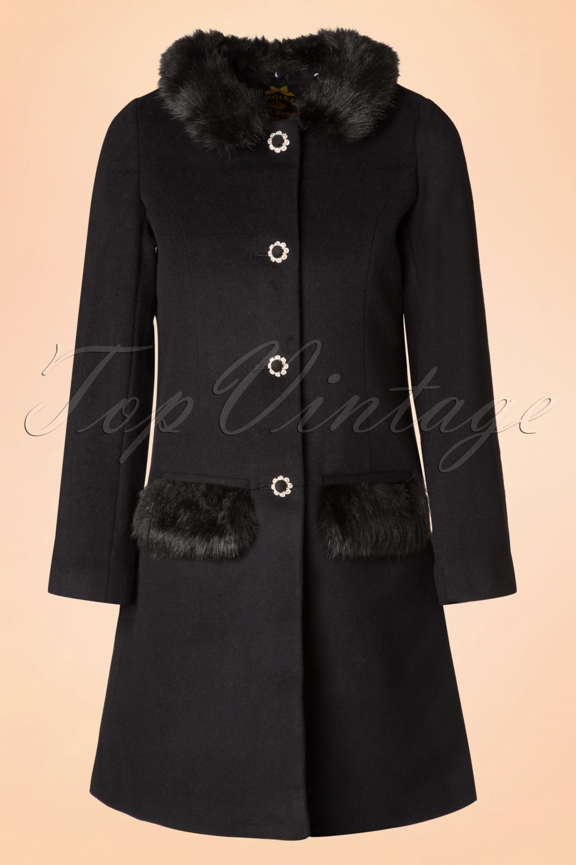 Retro Vintage Style Coats, Jackets, Fur Stoles 60s Juliette Coat in Black £140.99 AT vintagedancer.com