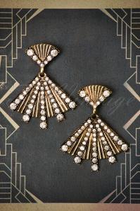 Rosalie Fan Earrings Années 30 en Doré vieilli