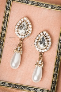 Rosemary Diamonds and Pearls Earrings Années 1930 en Doré vieilli